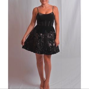 Jovani Black Cocktail Velvet Dress